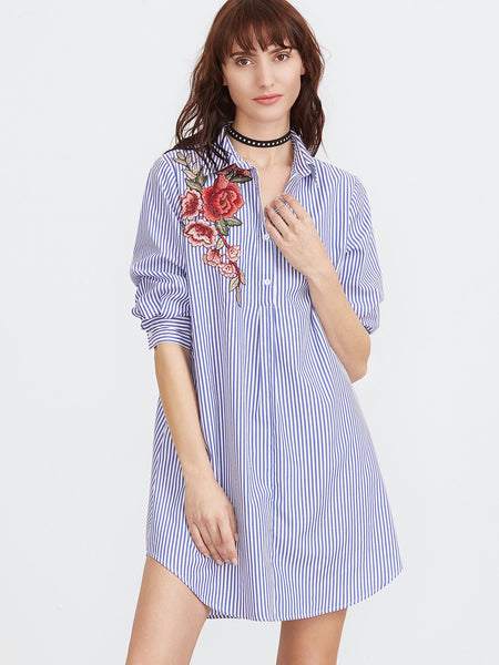 Trendtwo Women's Blue And White Striped Shirt Dress
