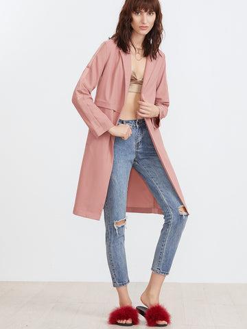 Women's Lapel Fake Pockets Open Front Coat