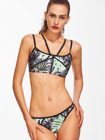 Women's Tropical Print Contrast Trim Strappy Bikini Set