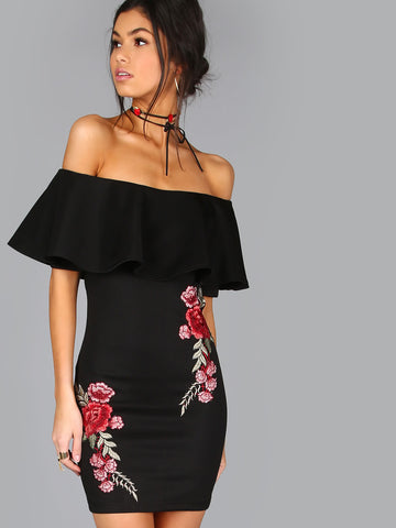 Trendtwo Women's Black Embroidered Rose Ruffle Dress