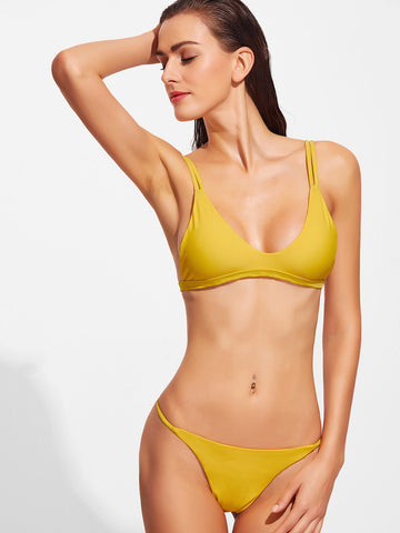 Women's Mustard V Neck Sexy Bikini Set