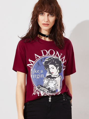 Trendtwo Women's Burgundy Graphic Print Short Sleeve T-shirt
