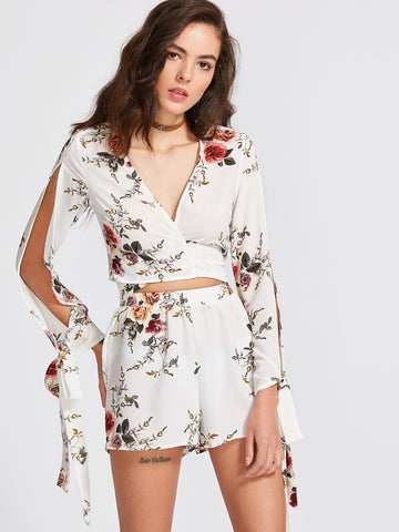 Women's White Floral Print Bow Tie Blouse With Shorts