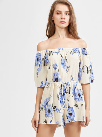 Women's Blue And White Off The Shoulder Floral Jumpsuit