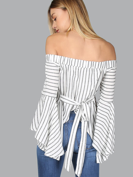 Trendtwo Women's Bardot Fluted Sleeve Self Tie Back Blouse