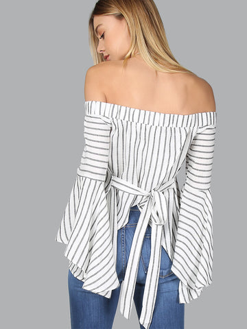 Women's Bardot Fluted Sleeve Self Tie Back Blouse