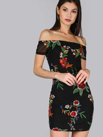 Women's Floral Short Sleeve Mesh Dress