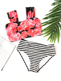 Women's Striped Floral Print Bikini Set