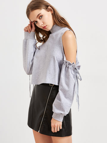 Trendtwo Women's Heather Grey Cold Shoulder Drawstring Sleeve Sweatshirt