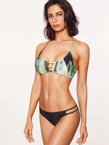 Women's Leaf Print Cutout Mix & Match Bikini Set