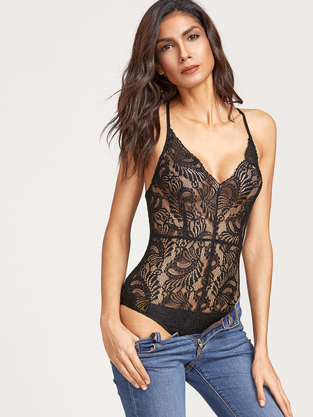 Trendtwo Women's Crisscross Back Sheer Lace Bodysuit
