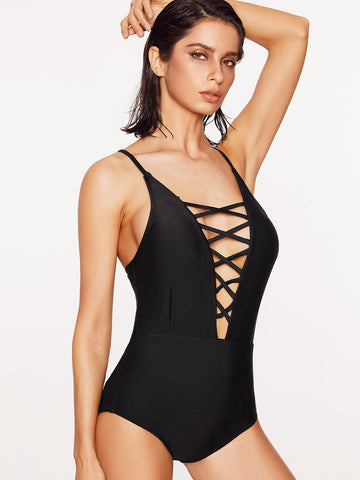 Women's Criss Cross Plunge Neck Swimsuit