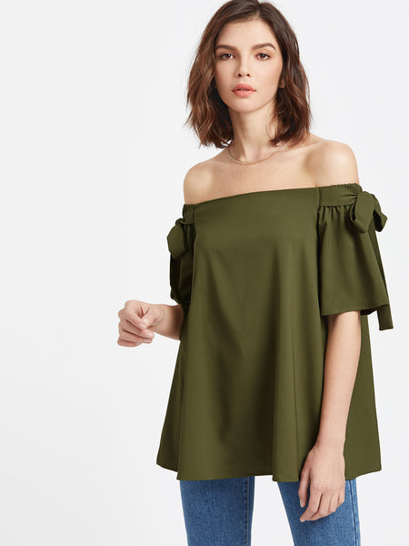 Trendtwo Women's Olive Green Off The Shoulder Bow Tie Detail Swing Top