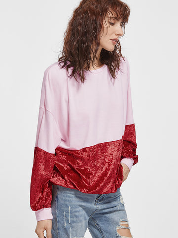 Women's Color Block Splicing Velvet Sweatshirt