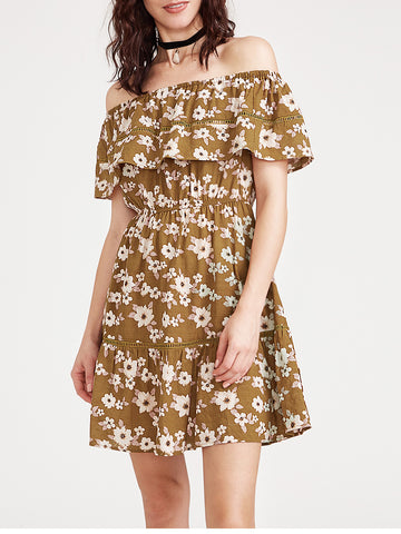 Trendtwo Women's Flounce Layered Neckline Ditsy Print Dress
