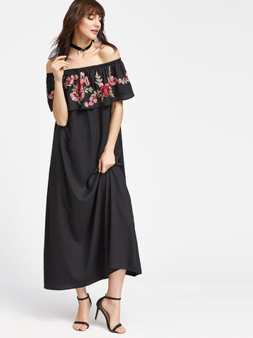Women's Black Rose Patch Ruffle Off The Shoulder Dress