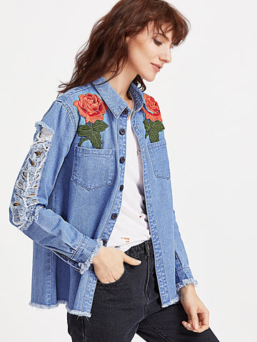 Trendtwo Women's Rose Applique Patch Pocket Distressed Denim Jacket