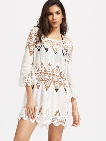 Women's White Hollow Out Crochet Cover Up Dress