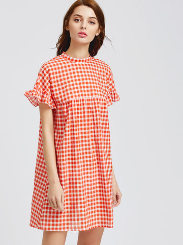 Women's Orange Checkered Ruffle Tie Back Dress