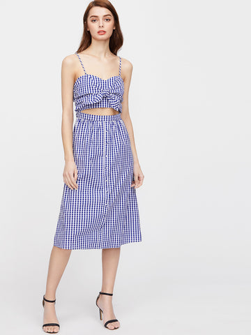 Trendtwo Women's Blue Checkered Knot Cutout Cami Dress