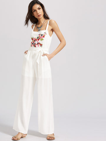 Women's Flower Embroidered Self Tie Wide Leg Jumpsuit