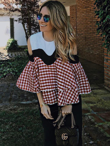 Women's Contrast Gingham Plaid Open Shoulder Ruffle Tiered Top