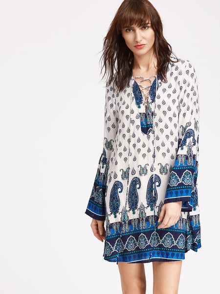 Trendtwo Women's Lace-Up Front Fluted Sleeve Paisley Print Dress