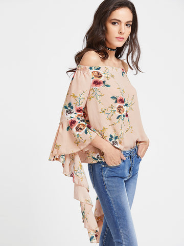 Trendtwo Women's Apricot Floral Print Off The Shoulder Flared Sleeve Top