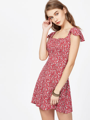 Women's Florals Square Neck Back Dress