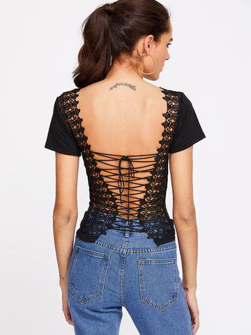 Trendtwo Women's Black Backless Contrast Crochet Lace Up T-shirt