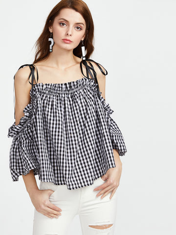 Trendtwo Women's Self Tie Cold Shoulder Bell Sleeve Checkered Trapeze Top