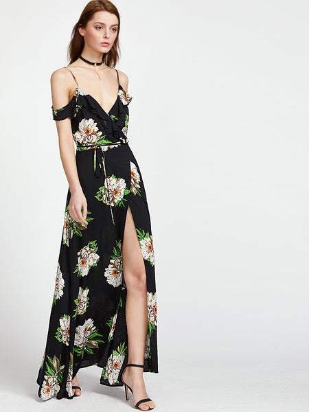 Trendtwo Women's Botanical Print Ruffle Wrap Dress