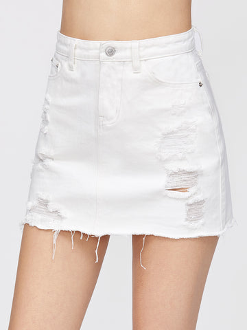 Women's Ripped Fray Hem A Line Denim Skirt
