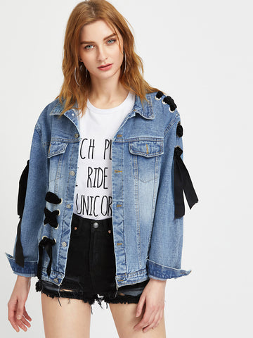 Trendtwo Women's Blue Eyelet Lace Up Detail Denim Jacket