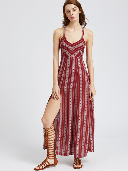 Trendtwo Women's Tribal Striped Lace Up Back High Slit Dress