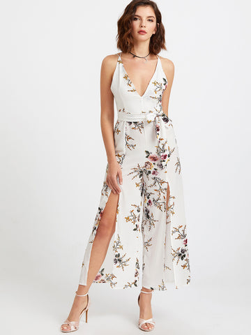 Women's Floral Print Deep V Neck Self Tie Split Jumpsuit