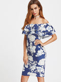 Trendtwo Women's Floral Print Layered Ruffle Off Shoulder Dress