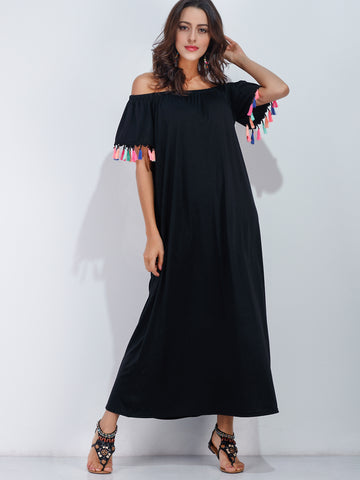 Women's Black Off The Shoulder Tassel Trim Dress