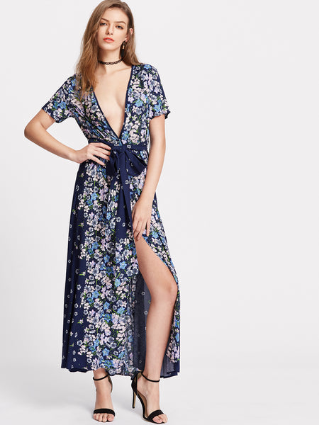 Trendtwo Women's Floral Print Plunging Belted Dress
