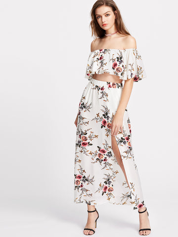 Trendtwo Women's Flower Print Crop Swing Bardot Top With Slit Skirt