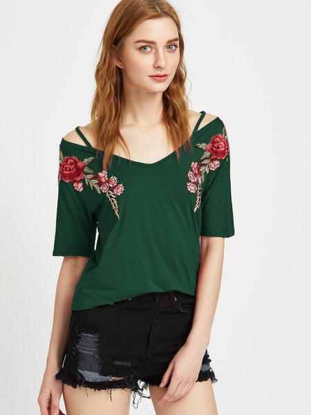 Trendtwo Women's Green Rose Patch Strappy V Neck Off Shoulder Tee