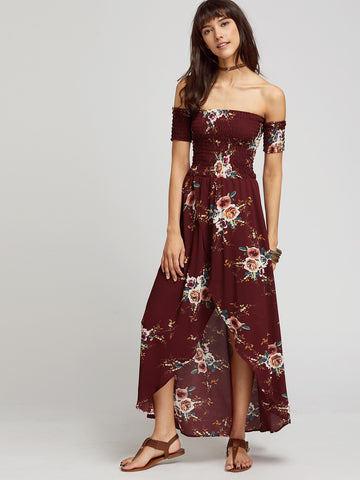 Women's Burgundy Florals Shirred Wrap Dress
