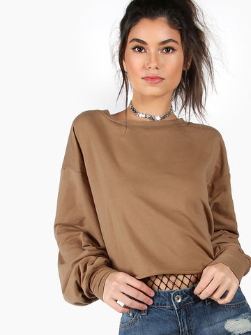 Women's Khaki Drop Shoulder Puff Sleeve Crop Sweatshirt