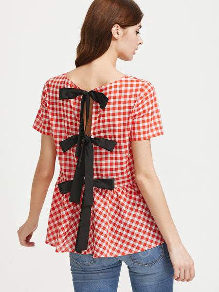 Trendtwo Women's Contrast Split Tie Back Checkered Peplum Top