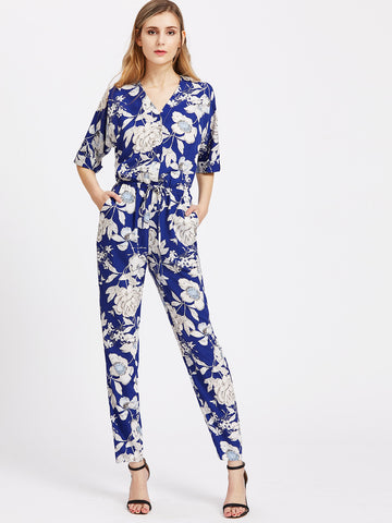 Women's Floral V Neck Drawstring Shirtwaist Jumpsuit