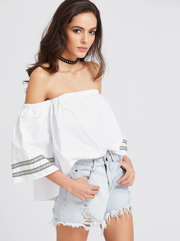 Women's Embroidered Tape Detail Bardot Top
