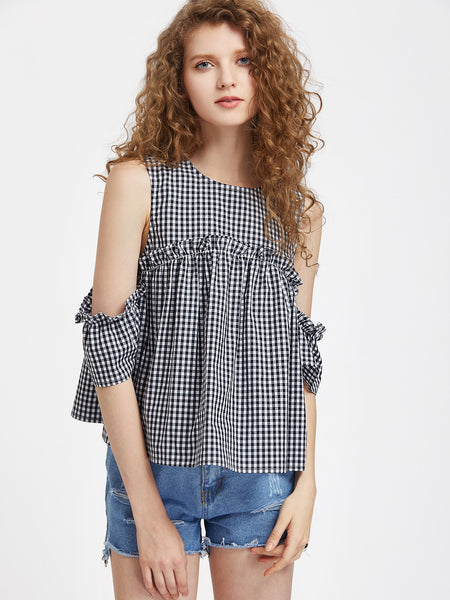 Trendtwo Women's Frill Detail Drape Sleeve Checkered Trapeze Top