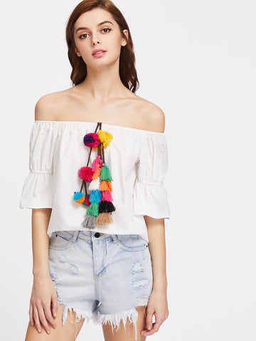 Women's Pom Pom And Tassel Embellished Tops