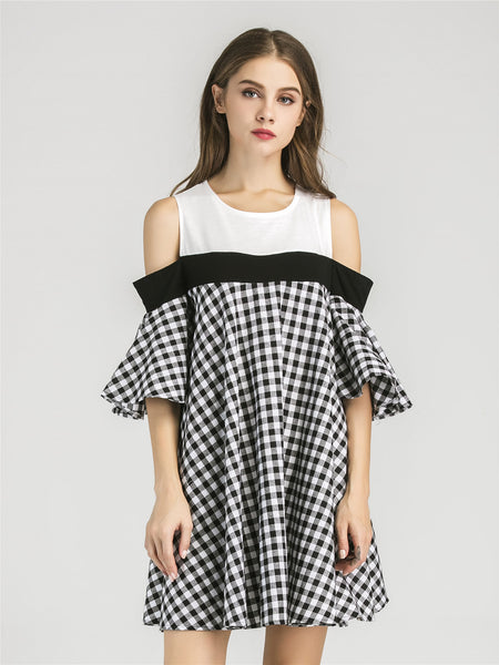 Trendtwo Women's Open Shoulder Contrast Gingham Bell Sleeve Dress