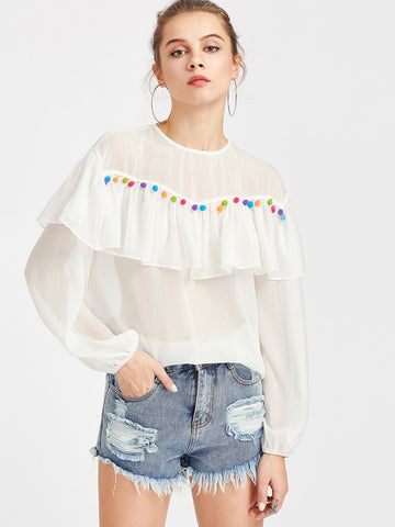 Women's Pom Pom Embellished Flounce Top